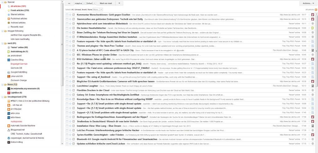Screenshot von meiner tt-rss Installation mit einem google reader alike theme
